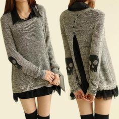 Skull Knitted Pullover Sweater