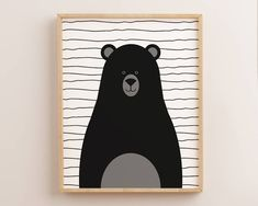 Black Bear Decor, Black Bear Prints, Bear Nursery Art, Black and White, Kids Room Decor, Minimal Art, Minimalist Print, Scandinavian Nursery by AdornMyWall on Etsy