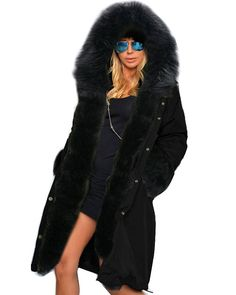 9ea6a4c3954 Roiii Women Winter Warm Thick Faux Fur Coat Outdoor Hood Parka Long Jacket  Size     See this great image   Plus size coats