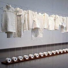 Wang Lei's Toilet Paper Fashion, Beijing's Chamber of Fine Art, Beijing modern contemporary art, Beijing avaunt-garde, Hand-Woven Toilet Paper Vitrine Design, Instalation Art, Decoration Vitrine, Creation Art, Poster Art, Paper Fashion, Fashion Art, Art Plastique, Store Design