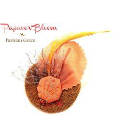 Fleurs à cheveux, Papaver Bloom bibi teintes oranges est une création orginale de MargauxJosephine sur DaWanda