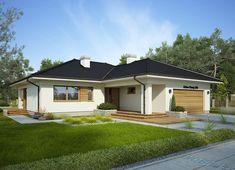 Projekt domu Oceania II 126,50 m² - koszt budowy - EXTRADOM Model House Plan, Bungalow House Plans, Bungalow House Design, Dream House Plans, House Outside Design, Simple House Design, Modern House Design, Bungalow Exterior, Simple House Exterior
