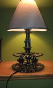 Motorcycle gear and sprocket lamp by MotoMetalFab Lampe Metal, Led Lampe, Industrial Lighting, Cool Lighting, Lampe Steampunk, Car Part Art, Car Furniture, Automotive Decor, Pipe Lamp