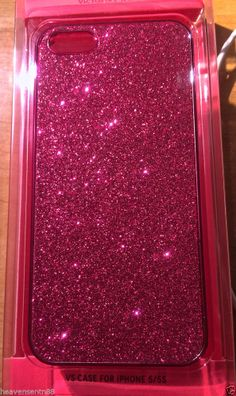 Victoria's Secret Glitter Sparkle Hard Case Cover Pink Bling NEW  iPhone 5 5c 5s