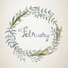 Hand-painted watercolour flower wreath for February