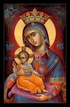 our lady of the blessed sacrament -beautiful icon. I wish I could find the artist though. Religious Images, Religious Icons, Religious Art, Virgin Mary, Immaculée Conception, Greek Icons, Religion Catolica, Queen Of Heaven, Mama Mary