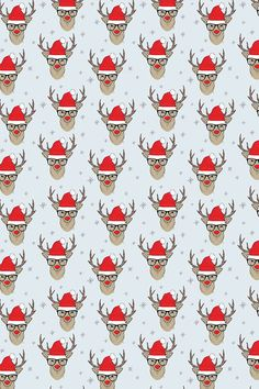Hipster Rudolf with snowflake custom fabric by taluna for sale on Spoonflower Christmas Wallpapers Tumblr, Christmas Phone Wallpaper, Christmas Printables, Christmas Cards, Hype Wallpaper, Fabric Wallpaper, Diy Stockings, Christmas Background, Pretty Wallpapers