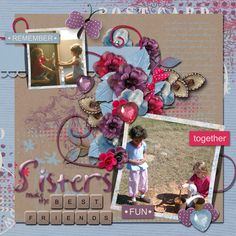 I fell in love with Best Friends kit by Vesi Designs while browsing through the GDS store! I love the word strips and splatters! I decided to do a layout with my two daughters. I really like this kit because it is feminine without being overly pink and girly (much like my daughters!) I also used a template from Arizona Girl called Life Me Up 2. You can find both of these items in the GDS store!