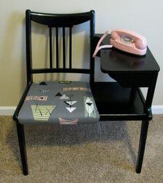 VTG Mid Century Modern  Rat Pack Mad Men Atomic Cool Gossip Bench Phone Table Barkcloth Seat on Etsy, $120.00