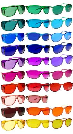 Color-tinted Sunglasses. What better gift for a color lover than to turn their entire visual world into the color they love most! Okay, so that's not exactly the intended purpose of these glasses, but even if you're not into the whole 'color therapy' thing these look pretty awesome. Amazing list of colors.
