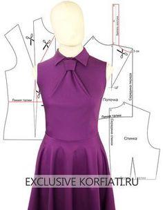 Pattern dress with a one-piece tie Fashion Sewing, Diy Fashion, Fashion Dresses, Mens Fashion, Dress Sewing Patterns, Clothing Patterns, Pattern Dress, Bodice Pattern, Dart Manipulation