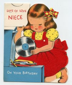 Girl playing with record player records  children vintage greeting card cute