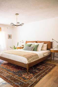Mid Century Modern Bedroom with white walls vintage rug leather headboard and DIY projects! Mid Century Modern Be Modern Bedroom Furniture, Home Decor Bedroom, Home Furniture, Bedroom Ideas, Plywood Furniture, Modern Bedrooms, Furniture Ideas, Contemporary Bedroom, Diy Bedroom