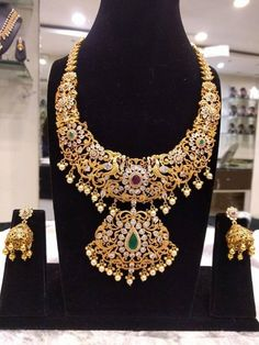 The Grand Bridal Necklace Set with Jhumkas in Silver & Gold Polish - Traditional and Temple Indian Jewelry with Earrings Bridal Necklace Set, Bridal Jewelry, Sterling Silver Jewelry, Gold Jewelry, Silver Ring, Diamond Jewelry, Silver Earrings, Gold Necklaces, Silver Bracelets