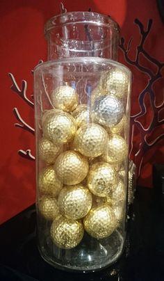 Balles de golf dorées à la feuille Gilded golf balls