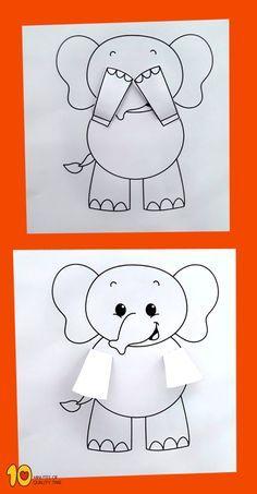 Peekaboo Elephant Printable Craft Peekaboo Elefant druckbare Handwerk my kindergarden (Visited 1 times, 1 visits today) Penguin Coloring Pages, Bee Coloring Pages, Diy For Kids, Crafts For Kids, Elephant Crafts, Elephant Art, African Elephant, Diy And Crafts, Paper Crafts