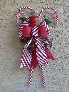 Christmas Candy Cane Wreath Swag Gingerbread Arrangement Door Decoration