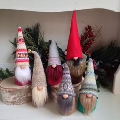 I think he's in a hurry to get his new hat finished, gnomes hate to be naked! Time to get cracking for the busy season too. Scandinavian Gnomes, Scandinavian Christmas, Christmas Gnome, Christmas Projects, Halloween Witch Decorations, Christmas Decorations, Felt Ornaments, Christmas Ornaments, Diy Weihnachten