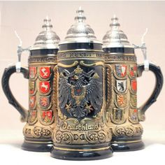 Zoeller & Born Rustic Deutschland Germany Pewter Eagle State Crests LE German Beer Stein .5 L $172.99