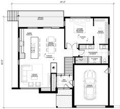 Plan de maison Ë_146 | Leguë Architecture Plane, Garage, Tiny House Plans, Floor Plans, House Design, How To Plan, House Ideas, Dream Houses, Architecture