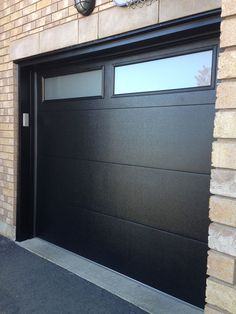 black contemporary flush insulated door with windows Designing