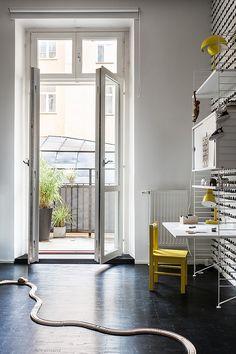 Norra Agnegatan Kungsholmen Black white yellow railway kids toys balcony wallpaper Fantastic Frank