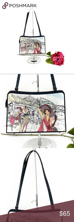 """Vintage store girls shopping shoulder bag Cute shoulder bag with a vintage store pictured with girls shopping at it. Super unique. Feet on the bottom. The picture is on both sides and is made up of a harder material. Zipper pull is a cherry charm (not sure that it's original to the bag) bag is approx 11x7 with a 10"""" strap drop.   🌹no trades 🌹discounts on bundles of 2+  🌹1000 items listed, take a peak!  🌹suggested user, posh compliant:) Bags Shoulder Bags"""