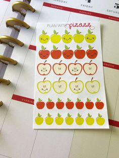 30 Kawaii Apple Stickers Perfect for Erin Condren Planner, Filofax, Happy Planner, Plum Paper by PlanwithPizazz on Etsy