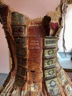 The bibliophile dress. Made from the spines of old books. By Sylvie Falcon.