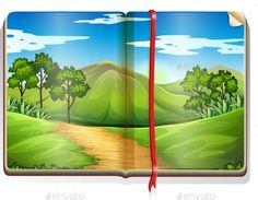 Book with mountain and forest scene illustration