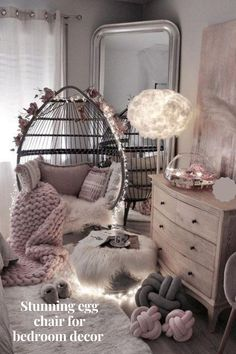 Stunning egg chair for bedroom decor.  #eggchair #hangingchair #macramechair #teenagereggchair#bedroomdecor Cute Bedroom Decor, Bedroom Decor For Teen Girls, Room Design Bedroom, Girl Bedroom Designs, Stylish Bedroom, Teen Room Decor, Room Ideas Bedroom, Cute Bedroom Ideas For Teens, Cozy Teen Bedroom