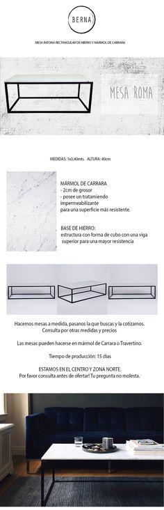 mesa ratona marmol carrara y hierro