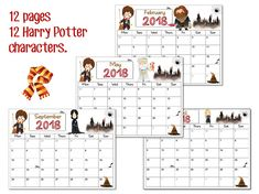 Harry Potter calendar 2018 PRINTABLE planner
