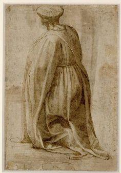 Michelangelo, Kniender Mann in Rückenansicht mit weitem Mantel, 1492-96 © Albertina, Wien