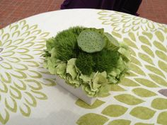 An all natural green centerpiece, made with Hydrangea, Lotus and Green Trick Dianthus