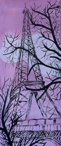 Wall painting of the Eiffel Tower in Paris by Pattersoney on Etsy, $60.00