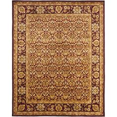 "Safavieh Antiquities Collection AT51A Handmade Traditional Oriental Wine and Gold Wool Area Rug (9'6"" x 13'6"")"