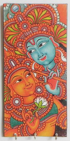 Radha Krishna Mural Deco Painting on a Wooden Key Rack with Three Hooks - Wall Hanging (Wood)