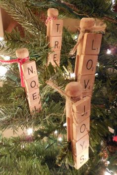 Items similar to Clothespin And Scrabble Tile Christmas Ornaments on Etsy Christmas Crafts To Make, Christmas Ornament Crafts, Holiday Crafts, Christmas Decorations, Christmas Ideas, Valentine Crafts, Rustic Christmas, Tree Decorations, Scrabble Letter Crafts