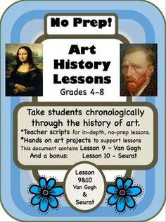 No Prep Art History for Grades 4 to 8 (Top Seller!)
