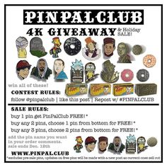 #Repost @pinpalclub  4K GIVEAWAY! & SALE!  follow @pinpalclub | like this post on the PPC page | repost this photo with #pinpalclub  Winner chosen at 4K followers. . . Buy any 2 pins chose a free Pin Buy any 3 pins and choose 2 Free pins  Just put the pin name from list shown in your order comments and we'll toss it in (: Sale ends Dec 12th . WWW.PINPAL.CLUB    (Posted by https://bbllowwnn.com/) Tap the photo for purchase info. Follow @bbllowwnn on Instagram for great pins patches and more!