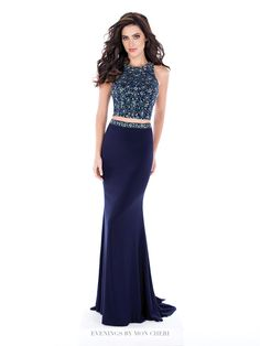 Two-piece jersey dress set, sleeveless hand-beaded cropped top with jewel neck and large keyhole back, fit and flare skirt with beaded high waist