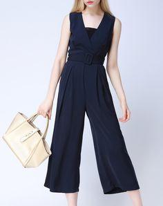 Dark Blue Polyester Folds Simple Jumpsuit With Belt, Blue, Viva Vena | VIPme