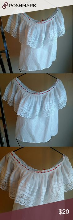 White Spanish Bohemian Lace Off Shoulder Blouse Home sewn ruffled lace neckline off the shoulder Spanish style blouse. White fabric, feels like a cotton blend, and white lace with red ribbon trim. Measures about 19 inches across the bust. Would work great for a costume piece, or pretty for every day or festival wear. In nice preowned condition, no stains, tears, or other visible flaws. (Homemade) Tops Blouses