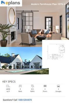Looking for some farmhouse inspiration? Check out this sweet modern farmhouse plan. It gives you a big porch and a farmhouse style kitchrn. Call 1-800-528-8070 today. #architect #architecture #buildingdesign #homedesign #residence #homesweethome #dreamhome #newhome #newhouse #foreverhome #interiors #archdaily #modern #farmhouse #house #lifestyle #design
