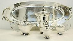 ROYAL HICKMAN SILVER PLATE 4 PIECE TEA COFFEE SET  Sold for $660.00 Bidders 7