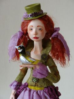 Art doll OOAK Great Tit by VilmaDollsHouse on Etsy