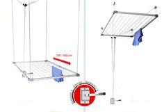 Tendedero extensible para techo. Incluye manivela para ajustar la altura. Ancho extensible de 100 a 160 cm y fondo de 78 cm. Soporta un peso máximo de 12 kg.