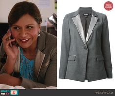 Mindy's silver lapel blazer on The Mindy Project.  Outfit Details: http://wornontv.net/43658/ #TheMindyProject