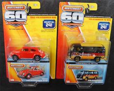 MATCHBOX LOT OF 2 60TH ANNIVERSARY VOLKSWAGEN VW 1962 BUG T2 BUS VAN  1:64 #Matchbox  Check out boundlessbargains.com for more great deals. Thank you